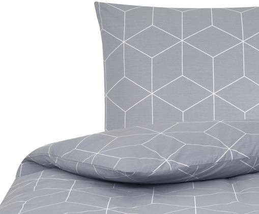 Renforcé-Bettwäsche Lynn mit grafischem Muster, Webart: Renforcé, Grau, Cremeweiß, 135 x 200 cm