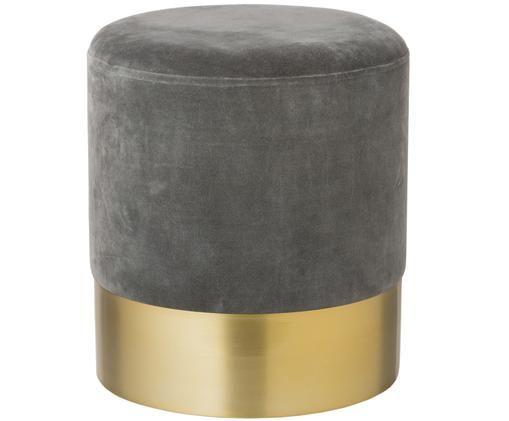 Puf z aksamitu Harlow, Tapicerka: aksamit bawełniany, Szary, odcienie złotego, Ø 38 x W 42 cm