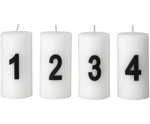 Adventskerzen-Set Avvento, 4-tlg., Paraffinwachs, Weiß, Schwarz, Ø 5 x H 10 cm