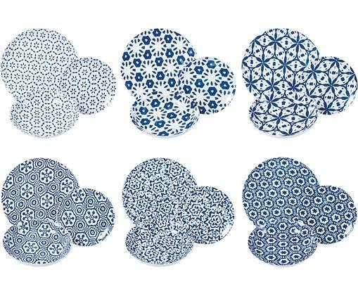Komplet talerzy Bodrum, 18-elem., Porcelana, Niebieski, biały, Różne rozmiary