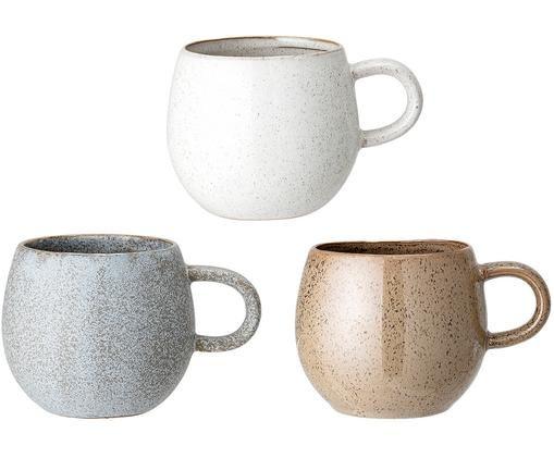 Set tazze da tè fatte a mano Addison, set di 3, Terracotta, Grigio, Beige, bianco, Ø 11 x Alt. 10 cm