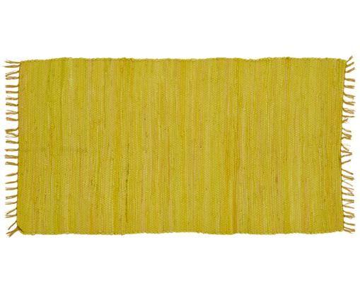 Tappeto in cotone riciclato Chindi, Cotone, riciclato, Giallo limone, Larg. 70 x Lung. 130 cm (taglia xs)