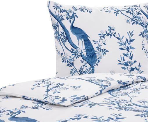 Perkal-Bettwäsche Annabelle in Blau/Weiß, Webart: Perkal Fadendichte 200 TC, Blau, Weiß, 135 x 200 cm