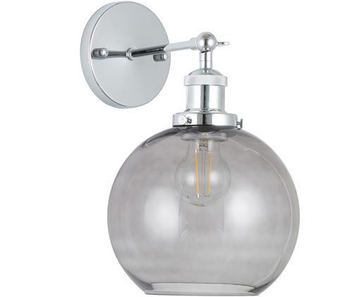 Lampada da parete New York Loft No.2, Paralume: vetro, Cromo, grigio, Larg. 20 x Alt. 30 cm