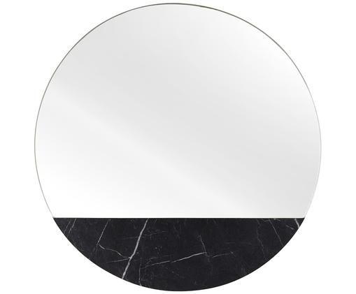 Espejo de pared Stockholm, Espejo: cristal, Reverso: tablero de fibra de densi, Negro veteado, Ø 40 cm