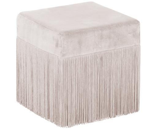Fransen-Hocker Alison, Bezug: Baumwollsamt, Fransen: Viskose, Unterseite: Baumwolle, Champagner, 40 x 40 cm
