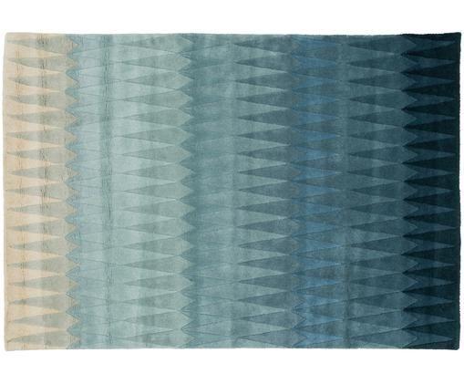 Handgetuft design vloerkleed Acacia met kleurverloop in blauw van wol, Bovenzijde: wol, Onderzijde: katoen, Blauwtinten, beigetinten, 170 x 240 cm