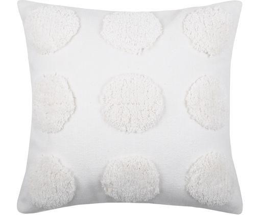 Cuscino con imbottitura e motivo a rilievo Sudda, Cotone, Bianco, Larg. 40 x Lung. 40 cm