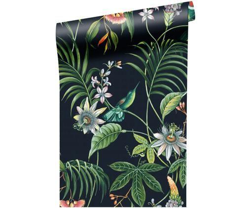 Carta da parati Tropical Leaves, Nero, multicolore