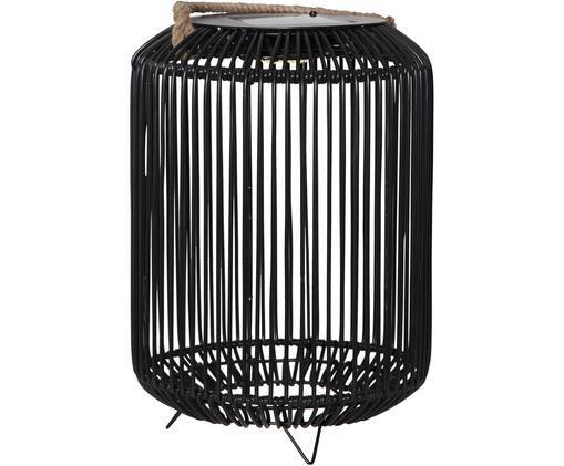 Solar outdoor LED lamp Sunlight, Metaal, kunststof, jute, Zwart, jutekleurig, Ø 34 x H 34 cm
