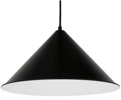 Skandi-Pendelleuchte Pip, Lampenschirm und Baldachin: Schwarz, mattKabel: Schwarz, Ø 43 x H 21 cm