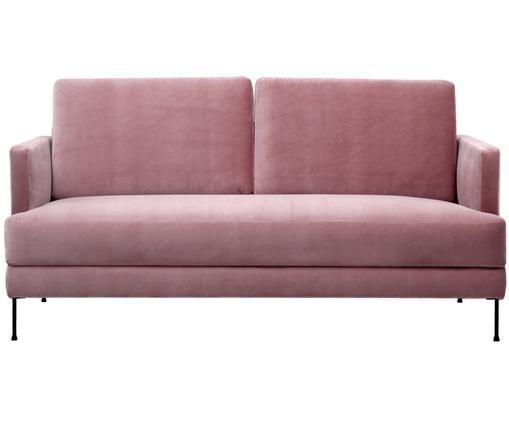 Samt-Sofa Fluente (2-Sitzer), Bezug: Samt (Hochwertiger Polyes, Gestell: Massives Kiefernholz, Füße: Metall, lackiert, Samt Rosa, B 168 x T 83 cm