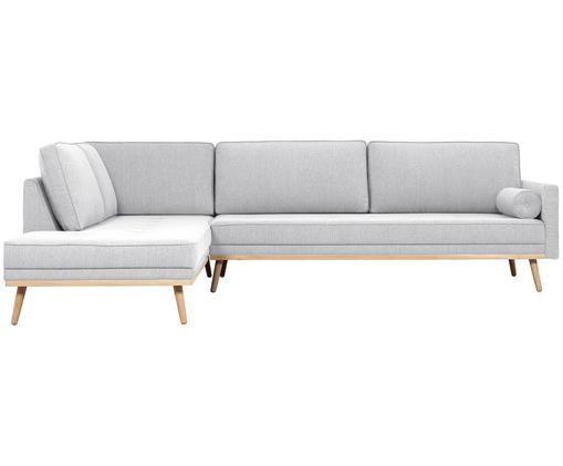 Sofa narożna Saint (4-osobowa), Tapicerka: poliester 50000 cykli w , Stelaż: lite drewno sosnowe, płyt, Jasny szary, S 294 x W 70 cm