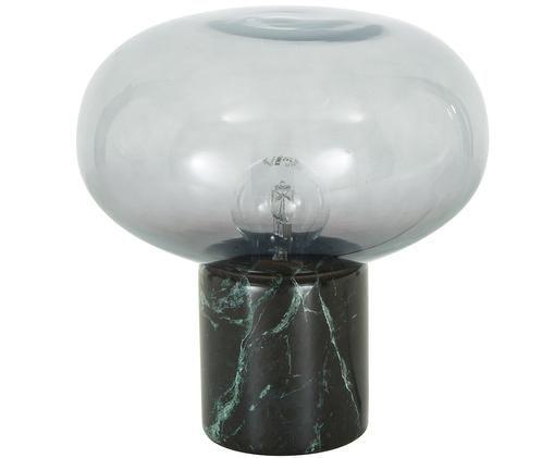 Marmor-Tischleuchte Alma, Lampenfuß: Marmor, Lampenschirm: Glas, Lampenfuß: Grüner MarmorLampenschirm: Grau, transparent, Ø 23 x H 24 cm