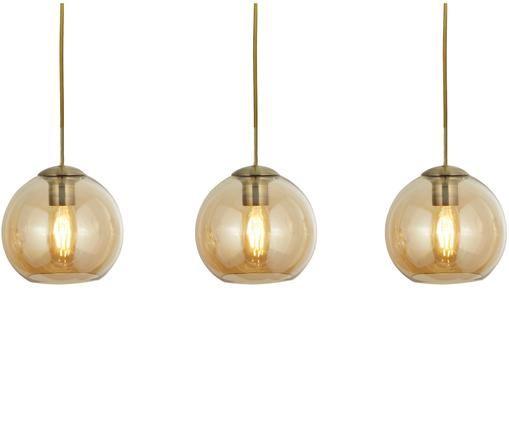 Lampada a sospensione Pendants, Metallo, rivestito, vetro, Dorato, ambra, trasparente, Larg. 70 x Alt. 20 cm