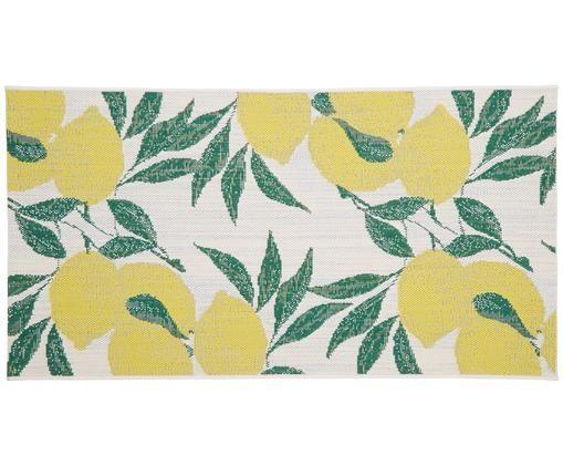 Tapis intérieur-extérieur imprimé citron Limonia, Blanc, jaune, vert