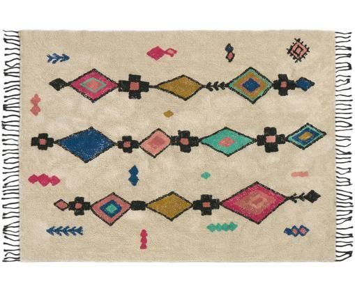Tappeto in cotone con frange Tuareg, Cotone, Beige, multicolore, Larg. 90 x Lung. 150 cm (taglia XS)