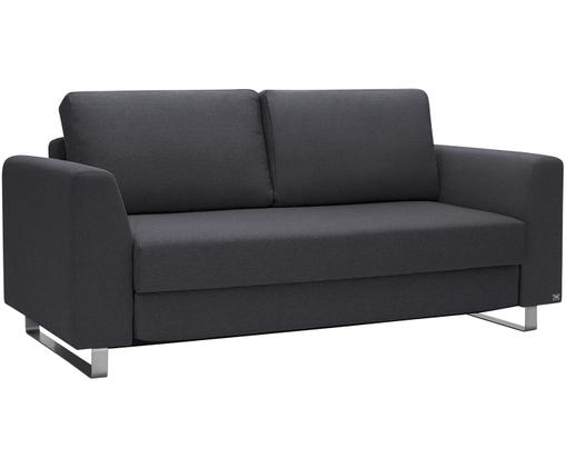 Schlafsofa Bruno (3-Sitzer), Bezug: Pflegeleichtes robustes P, Rahmen: Massivholz, Füße: Gebürstetes Metall oder B, Anthrazit, B 200 x T 84 cm