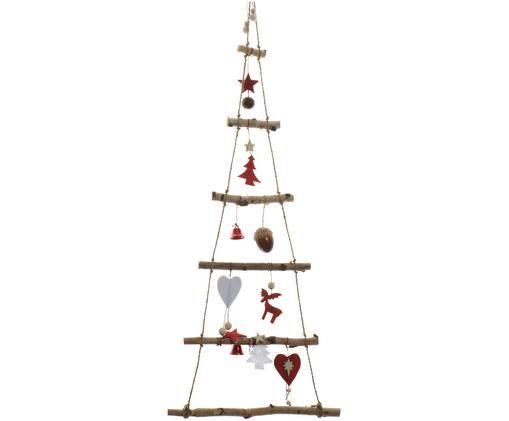 Albero di Natale da parete in legno Rinde, Legno di betulla, rosso