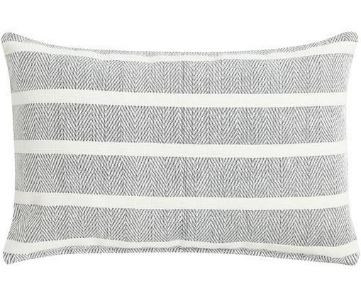 Gestreiftes Kissen Amber mit Fischgrätmuster, mit Inlett, Hülle: Baumwolle, Grau, gebrochenes Weiß, 40 x 60 cm
