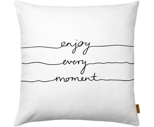 Kissenhülle Enjoy Every Moment mit Schriftzug, Weiß, Schwarz