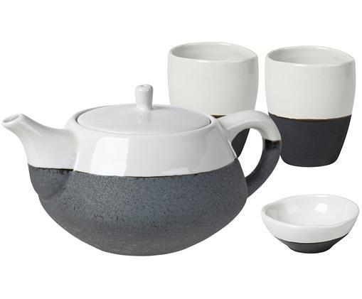 Servizio da tè fatto a mano Esrum, 4 pz., Sotto: terracotta naturale, Avorio, nero, Diverse dimensioni