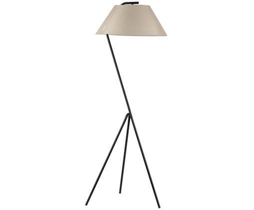 Lampadaire en métal noir moderne Narve, Noir, beige