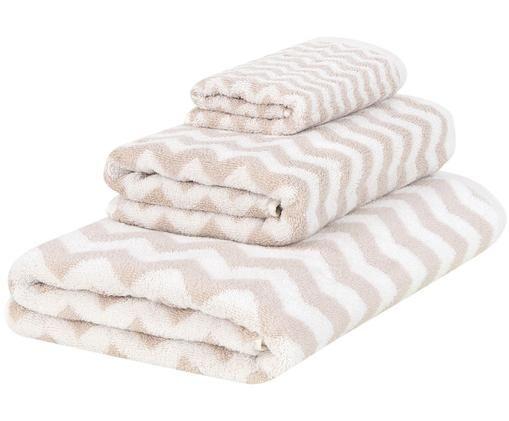Handtuch-Set Liv mit Zickzack-Muster, 3-tlg., Sandfarben, Cremeweiß
