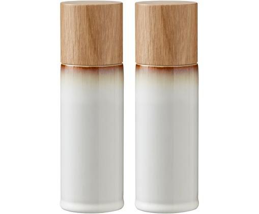 Komplet solniczki i pieprzniczki Bizz, 2 elem., Kremowobiały, brązowy, drewno naturalne, Ø 5 x W 17 cm