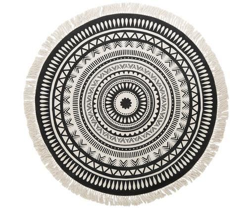Rond vloerkleed Benji, met franjes, handgeweven, Zwart, beige, Ø 150 cm (maat M)