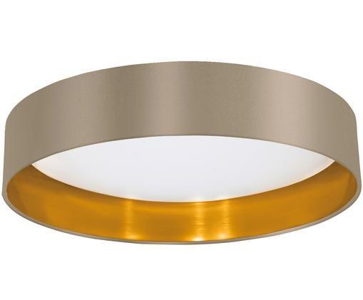 Deckenleuchte Marbella, Diffusorscheibe: Kunststoff, Taupe, Goldfarben, Ø 41 x H 10 cm