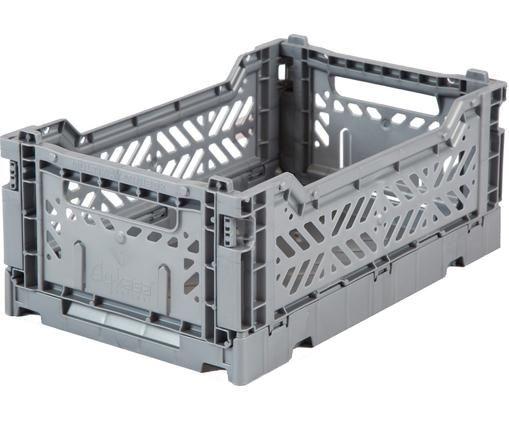Caja pegable mediana Grey, Plástico reciclado, Gris, An 27 x Al 11 cm