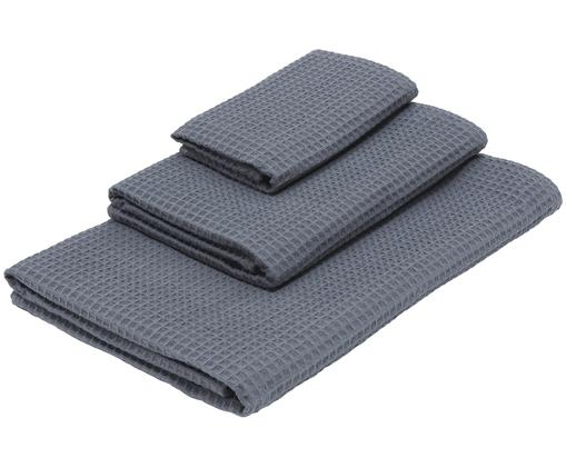 Set asciugamani in Waffle Piqué Karima, 100% cotone, qualità leggera 250g/m², Grigio scuro, Diverse dimensioni
