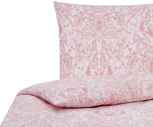 Baumwollsatin-Bettwäsche Grantham mit Paisley-Muster, Rosa, 135 x 200 cm