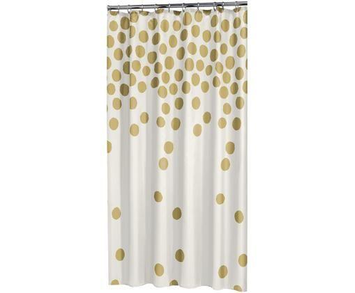 Tenda da doccia in bianco/oro Spots, Materiale sintetico (PEVA), impermeabile, Bianco, dorato, Larg. 180 x Lung. 200 cm