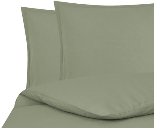 Gewaschene Leinen-Bettwäsche Breeze in Olivgrün, 52% Leinen, 48% Baumwolle Mit Stonewash-Effekt, Olivgrün, 240 x 220 cm