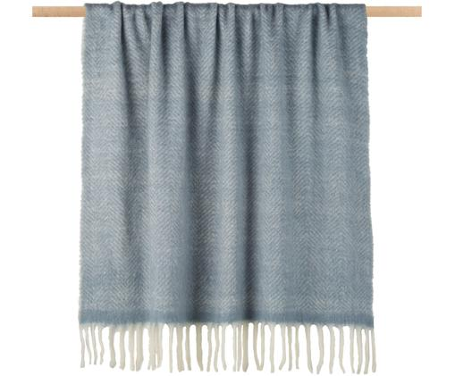 Woll-Plaid Mathea mit feinem Zickzack-Muster, 60% Wolle, 25% Acryl, 15% Nylon, Blau, 130 x 170 cm
