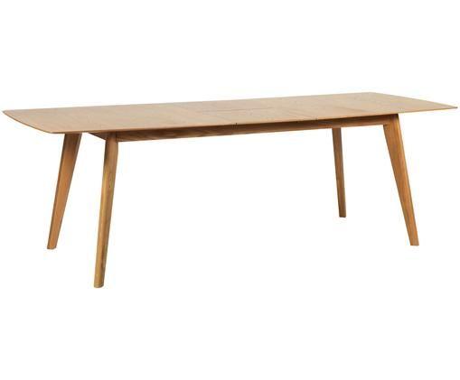 Tavolo da pranzo allungabile con rivestimento in legno Cirrus, Piano d'appoggio: pannelli di fibra a media, Gambe: legno di quercia, vernici, Legno di quercia opaco, Larg. 190 a 235 x Prof. 90 cm