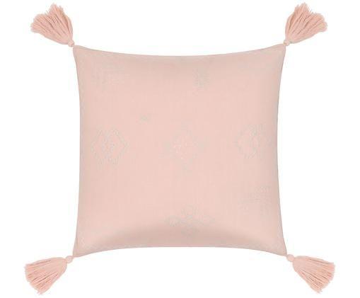 Haftowana poszewka na poduszkę Huata, Bawełna, Blady różowy, taupe, beżowy, S 45 x D 45 cm