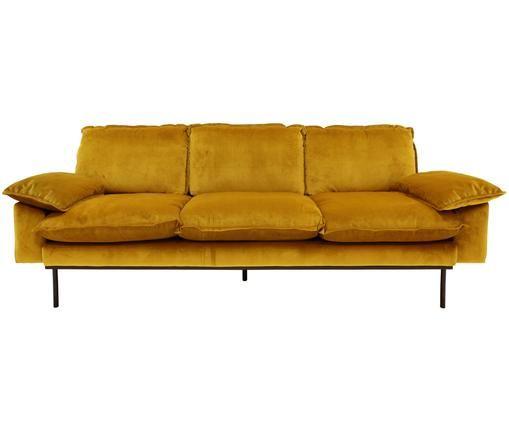 Samt-Sofa Retro (3-Sitzer), Ocker