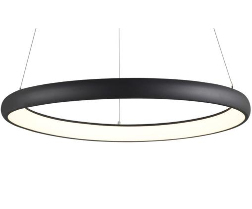Lampada a sospensione a LED Simeon, Paralume: Alluminio rivestito, Paralume e baldacchino: nero Diffusore: bianco Cavo: nero, Ø 61 x Alt. 20 cm