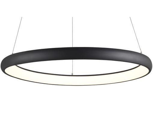 LED hanglamp Simeon, Lampenkap: gecoat aluminium, Diffuser: acryl, Lampenkap en baldakijn: zwart. Diffuser: wit. Snoer: zwart, Ø 61 cm x H 20 cm