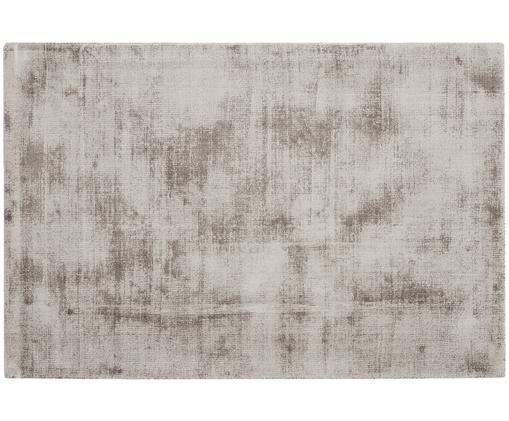 Alfombra artesanal de viscosa Jane, Parte superior: 100%viscosa, Reverso: 100%algodón, Gris pardo, An 200 x L 300 cm (Tamaño L)