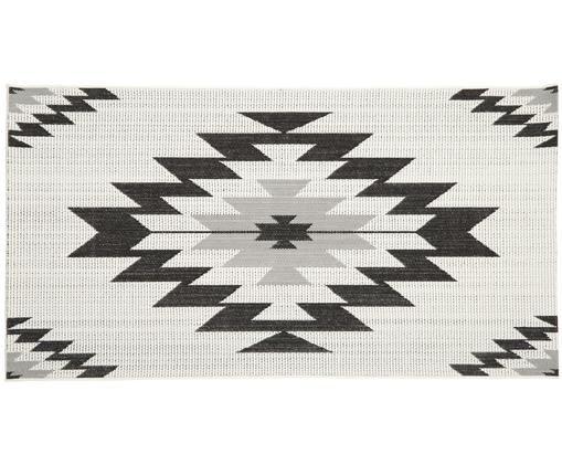 In- & outdoor vloerkleed Ikat, Bovenzijde: polypropyleen, Onderzijde: polyester, Crèmewit, zwart, grijs, B 80 x L 150 cm (maat XS)
