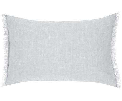 Housse de coussin en pur lin à franges Luana, Revêtement: gris clair Pieds: noir