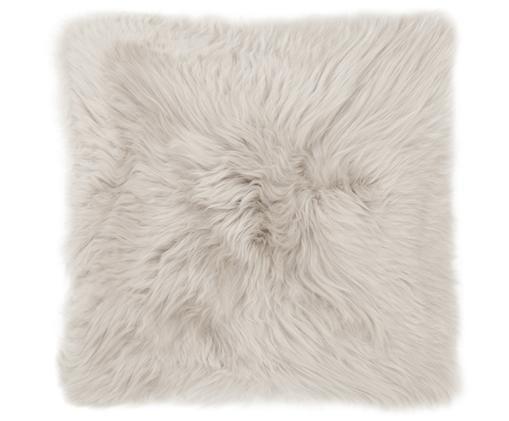 Schaffell-Kissenhülle Oslo, glatt, Vorderseite: Schaffell, Rückseite: Leinen, Vorderseite: BeigeRückseite: Hellgrau, 40 x 40 cm