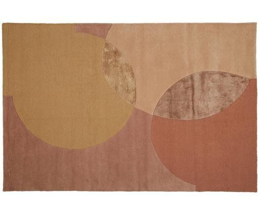 Designový ručně všívaný vlněný koberec Caldera, Starorůžová, hořčičná žlutá, hnědá, terakotová