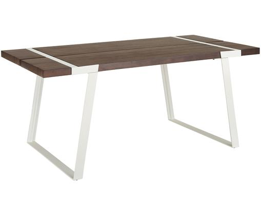 Table en bois Luis, Plateau: bois de manguier, mat laqué Structure: blanc, mat
