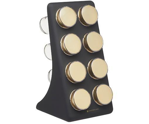 Kruidenrek Master Class met  kruidenpotjes, 9-delig, Houder: kunststof, Houder: glas, gecoat metaal, Zwart, messingkleurig, 13 x 26 cm