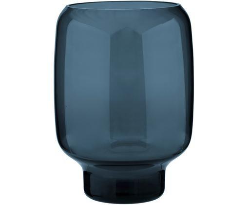 Jarrón de vidrio Hoop, Vidrio, Azul oscuro, Ø 16 x Al 20 cm